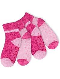 4 Paar süße Kinder Kuschelsocken mit Umschlag für Mädchen und Jungen - mit ABS-Stoppersohle - Kuschelig weich - Farben und Größen wählbar