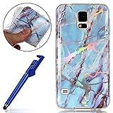 MoreChioce Galaxy S5 Neo Hülle,Galaxy S5 Silikon Hülle, Farbverlauf Hellblau Bling Glitzer Glanz Marmor Handyhülle Bumper Case,Glänzend Strass TPU Tasche für Samsung Galaxy S5 / S5 Neo