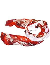 Pink, red or Blue Soft Chiffon feel Ladies Beautiful Traditional Japanese Chinese Geisha print Scarf Shawl 150cm x 50cm - posted from London by Fat-Catz