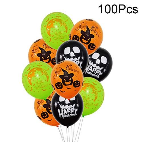 BESTOYARD 100 stücke Halloween Latex Ballons Spuk Gruselige Kürbis Fledermäuse Verschiedene Dekorative Ballons 12 Zoll
