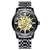 Reloj de Pulsera para Hombre de Acero Inoxidable mecánico, Resistente al Agua, automático, con Esfera de Diamante, Color Negro