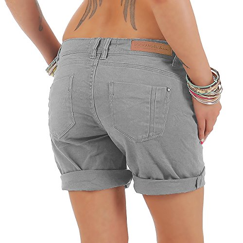 Rock Angel Damen Shorts kurze Bermuda Chino Sommer Hose Freizeit Regular Slim Grey