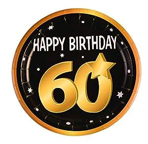 Forum Novelties-60th Birthday Paper (8 in pkt) Platos, Color black, gold, white (X81640)