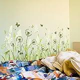 Wandtattoo Pusteblume grüne Wiese Schmetterling Löwenzahn Wohnzimmer Wandaufkleber Wandsticker Schlafzimmer Gras Gräser Pflanzen Blumen