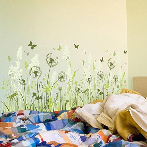 Wandtattoo Pusteblume Schmetterling Löwenzahn Wohnzimmer grüne Wiese Aufkleber