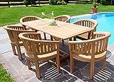 Rustikale Super Edle TEAK Gartengarnitur Gartenset Gartenmöbel Ausziehtisch 150-200cm + 6 Sessel COCO Holz geölt von AS-S