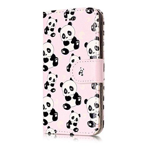Isaken compatibile con iphone ipod touch 5 / touch 6g cover - libro wallet flip portafoglio custodia in pu pelle sollievo pattern anti slip caso con supporto di stand/carte slot/chiusura - pandas