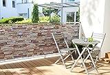 WOHNWOHL Balkonumspannung Balkonbespannung Sichtschutz Windschutz 90x500cm, Design Steinmauer