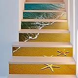 Frolahouse 3D Treppe Aufkleber Seestern Strand DIY Renovierung Treppen Aufkleber selbstklebende Treppen Fliesen Wandvinyl Wasserdicht Tapete Aufkleber Dekor Aufkleber 6PCS Set