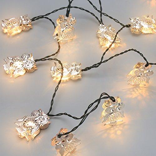 Finether Guirnalda de Luces Decorativa(Forma de búho Luz Blanca y Cálida   Energía Solar 20 LEDs  5m  Para Halloween  Navidad  Bodas Fiestas  Decoración Interior y Exterior y Uso Comercial)Plata