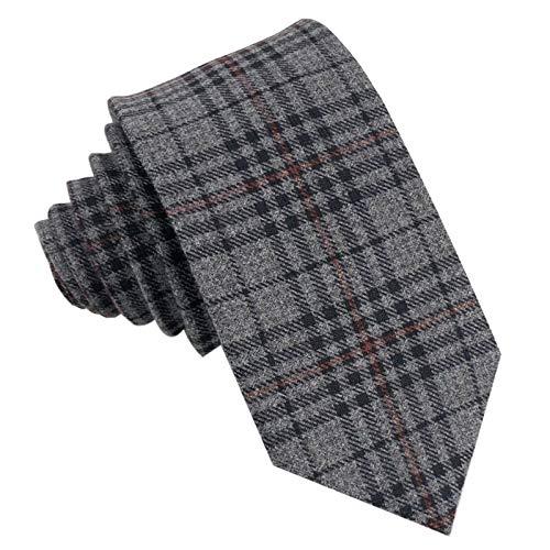 GASSANI Tweed Woll-Krawatte Kariert, Schmale Dünne Flanell Herren-Krawatte Wolle Baumwolle Twill, Anthrazit-Graue Dunkel-Graue Schwarze Rote Karos -