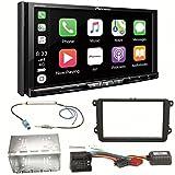 Pioneer AVH-Z9100DAB CarPlay Android Auto Digitalradio USB CD DVD Autoradio Touchscreen Moniceiver Navi Einbauset für Golf 5 6 Passat 3C CC B7 Touran