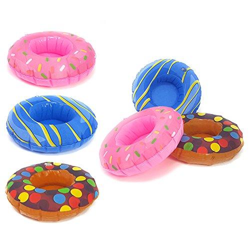 Com-four® 6x portabevande donut in vari colori, divertente giocattolo da bagno per far esplodere con spazio per 1 bottiglia o lattina, Ø 18 cm (06 pezzi - ciambella)