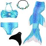 UrbanDesign Meerjungfrau Flosse Zum Schwimmen Flossen Für Mädchen Kinder Mit Bikini, 7-8 Jahre, Blauer Himmel