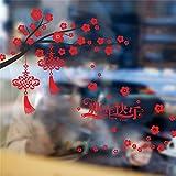 ZSYNB Wandaufkleber Happy Oriental New Year Wandaufkleber Fenster Glas Hintergrund Dekoration Festival Baum Vogel Laterne Wandtattoos Shop Wandbild