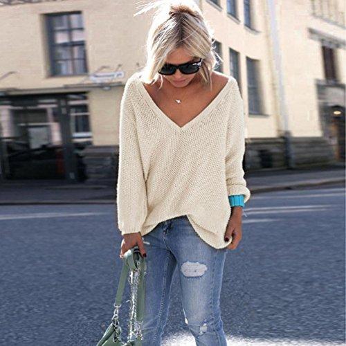 YouPue Damen Loose Strick Pullover V-Ausschnit Langarm Oversized Tunika Sweatshirt Langarmshirt Tops Apriot