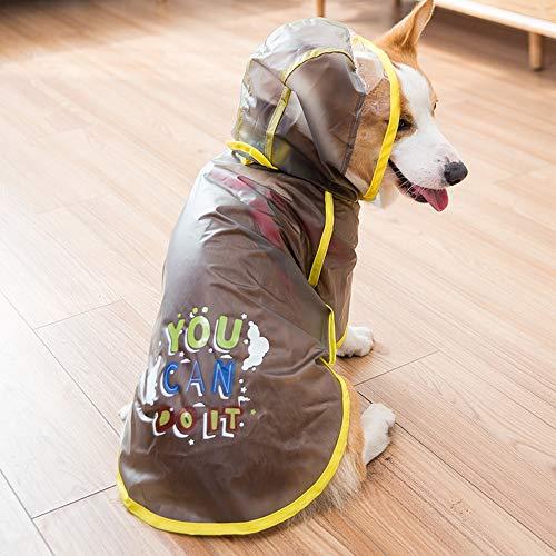 QNMM Regenmantel für Hunde Packbar Wasserdicht Verstellbar mit reflektierenden Trägern Leichte Regenjacke für Waliser-Corgi-Pembroke,Black,L