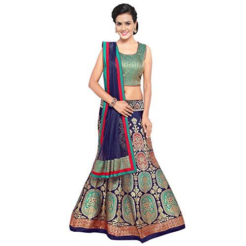 Styles Closet Women\'s Silk Semi-stitched Lehenga Choli (BND-7101_Blue_Free Size)