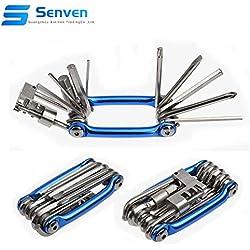 Senven® 11 en 1 Multifunción Bicicleta Reparacion Herramientas, Multiusos Bici Herramientas, Mini Plegables Herramientas, Mantenimiento Herramientas Kit -- Azul