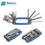 Senven® 11 en 1 Multifunción Bicicleta Reparacion Herramientas, Multiusos Bici Herramientas, Mini Plegables...