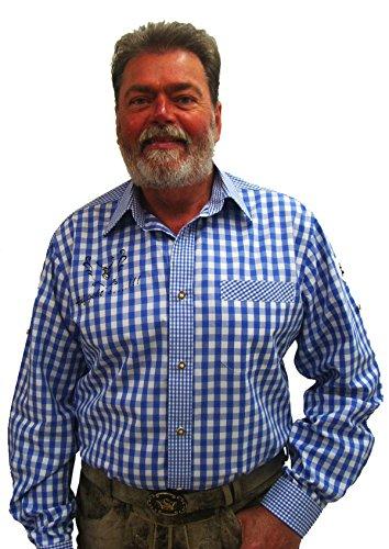 Herren Trachtenhemd blau weiß kariert Slim Fit Herrenhemd Langarm Egon Gr.45