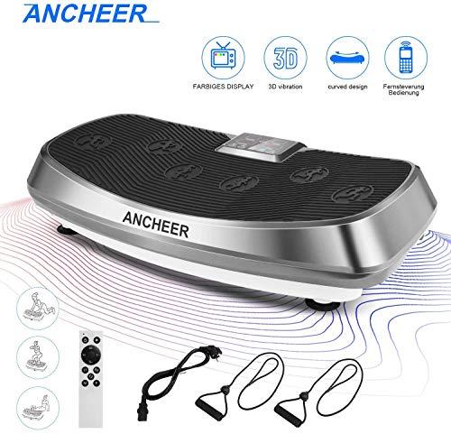 ANCHEER Vibrationsplatte 3D Wipp Vibrations Technologie for Fett Abbauen und Body Shaping von Hause,mit Leise Motor inkl. Stromkabel + Trainingsbändern + Fernbedienung (grau)