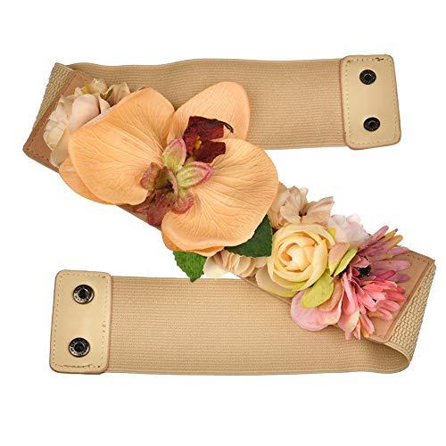 BIGBOBA Moda Elasticos Cinturón de Mujer con Flores Artificiales-Ajustable Cinturón 70-90cm-Múltiples Colores