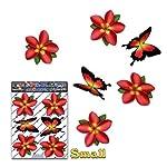 Fleur rouge single frangipani plumeria petit + Papillon animal autocollants voiture - ST00041RD_SML - JAS Autocollants