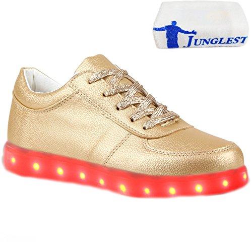 [Present:kleines Handtuch]JUNGLEST® Blinkende Damen Sneakers Led Light Far Gold
