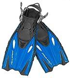 Aqua Speed Flossen Kinder verstellbar I Schwimmbadeflossen Kind I Taucherflossen flexibel I Kurze Trainingsflossen I Schwimmflossen langlebig I + UP Schlüsselband I Blau, Gr. 27/31 I Bounty