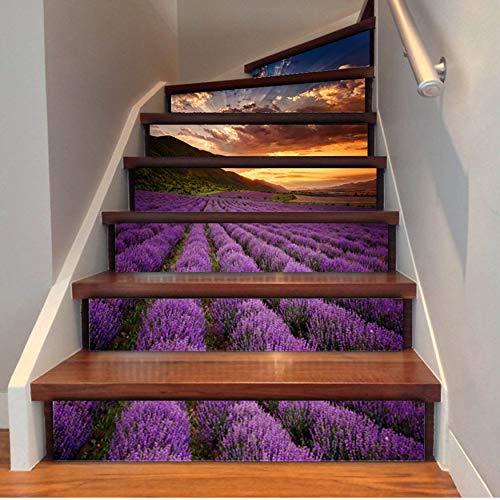 Treppenaufkleber Lavendel-Blumen-Fliesen-Wand-Treppen-Aufkleber-Pvc-Entfernbares Wasserdichtes Tapeten-Keramisches Wandplakat Für Haupttreppen-Dekor 3D -