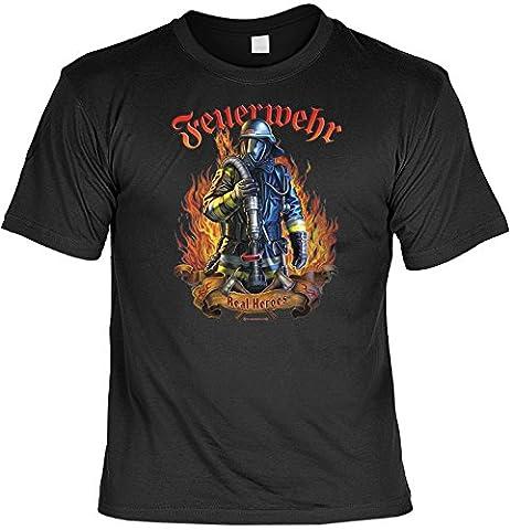 witziges Sprüche Tshirt Feuerwehr - Real Heroes schwarz
