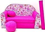 PRO COSMO H35, Divano Letto con Pouf/poggiapiedi/Cuscino, in Tessuto, per Bambini, 168 cmx 98cm x 60cm, Rosa