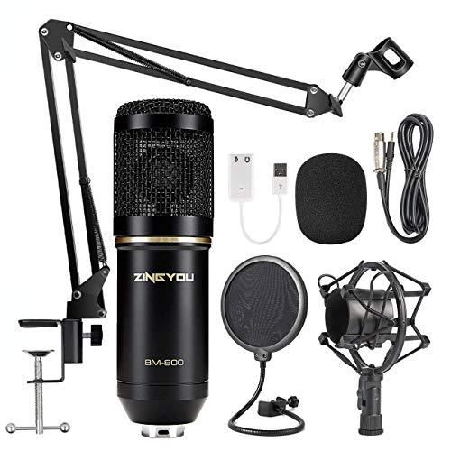 ZINGYOU Kondensator-Mikrofon BM-800 Mic Set mit verstellbarem Mic Suspension Schere Arm, Schock Halterung und Doppelte Schicht Pop Filter für Studio Aufnehmen & Podcast(Schwarz)