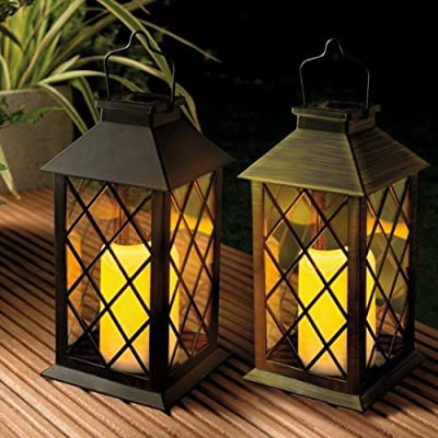 Solar Powered Traditional Candle Lantern (Black) with Flickering Light