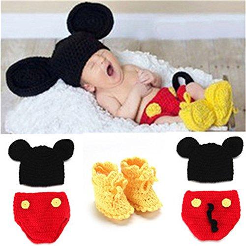 Anqeeso Baby Kleidung für Fotografie, Neugeborene Baby handgefertigt gestrickt Fotografie Foto Prop Outfit passt Kleidung Gap Hat Set -