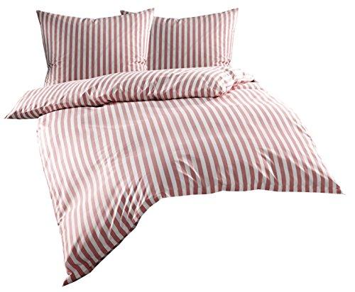 Mako Batist/Mako Perkal Landhaus Bettwäsche Streifen Oslo gestreift (200 cm x 200 cm + 2X 80 cm x 80 cm, Rot - Streifen) - Bettbezug Rot