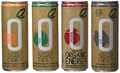 Scheckter's Organic Energy Drink's Boisson Bio/Vegan Pack de 4 Cannettes Original/Light/Thé Vert/Menthe/Gingembre