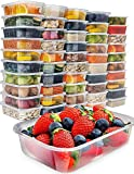 Food Storage Containers with Lids - Plastic Containers with Lids 50 Pack, 480g Plastic Containers for Food Container - Freezer Containers Plastic Food Containers Deli Containers by Prep Naturals