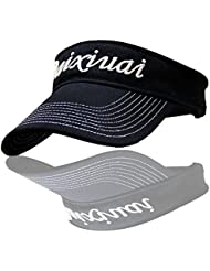 WF:sombrero de las señoras Cartas sombrero estilo unisex del sombrero del sol del sombrero del verano viseras de Corea del hombre UV sol grande de ala ancha ajustable ( Color : Negro )