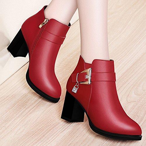 Rouge Nouveaux bottes bottes à talons hauts et Martin Bottes. mvNIQluU