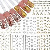AIUIN 12Teile Buntes Nagellack-Muster in Hot Silber Applique Serie 3d Leitfäden Nageln Tip Aufkleber Set mit Nägel Maniküre