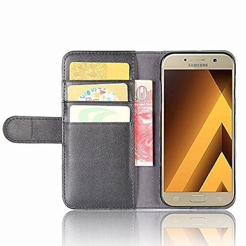 SMTR Samsung Galaxy A5 2017 Coque cuir véritable & PU Cuir Flip Housse Étui Cover Case Wallet Portefeuille Supporter avec Carte de Crédit Fentes pour Samsung Galaxy A5 2017 -Noir