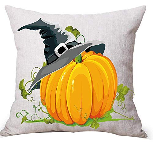 Cupsbags Happy Halloween Witch hat Big Pumpkin Cotton Linen Throw Pillow Case Cushion Cover Home Sofa Decorative 18 x 18 inch (2) 45cm