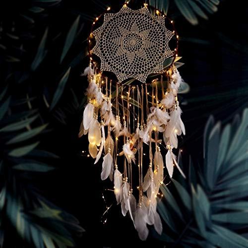Große Dream Catcher mit Lichtern Handarbeit gehäkelte traditionelle Kunsthandwerk Feder Ornamente Innenwanddekoration Dream Catcher Geschenk (Farbe : Brown) -