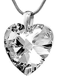 SILVEGO Colgante corazón grande cristal de Swarovski® Crystals plata de ley 925