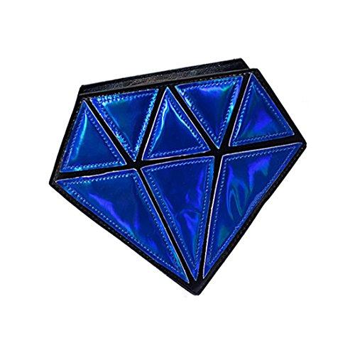 Tracolla Borse - TOOGOO(R)3D Borsa Piccola A Tracolla Diamante Forma Femminile Catena Borse Messenger Crossbody Satchel Patchwork Tote Borse Da Sera per le Ragazze blu marino blu marino