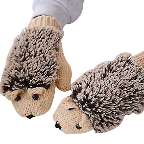 Winterhandschuhe/Frauen-Karikatur-Igel-Handschuhe verdicken Handwärmer alle Fingerhandschuhe gestrickte Handgelenk-Handschuhe für im Freienreiten