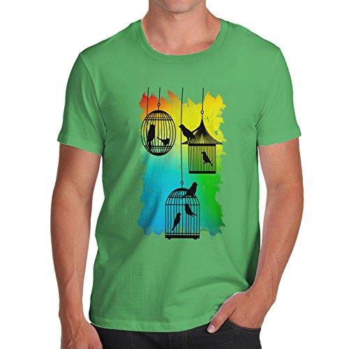 Herren Rainbow Bird Cages T-Shirt Grün