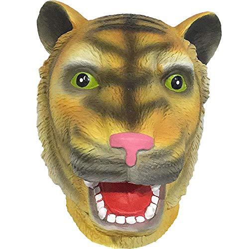 Rwdacfs Masken für Erwachsene,Cartoon Tiger Maske Latex Leistung Perücke Halloween Horror Streich Requisiten